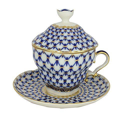Cobalt Porcelain - Lomonosov Porcelain Cobalt Net Covered Cup Set