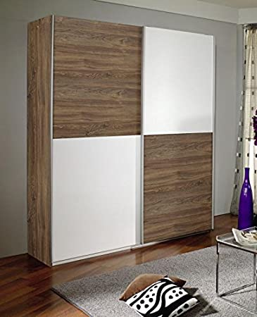 Schwebetürenschrank Braun / Weiß 2 Türen B 181 Cm Schrank Kleiderschrank  Schiebetürenschrank Jugendzimmer Schlafzimmer