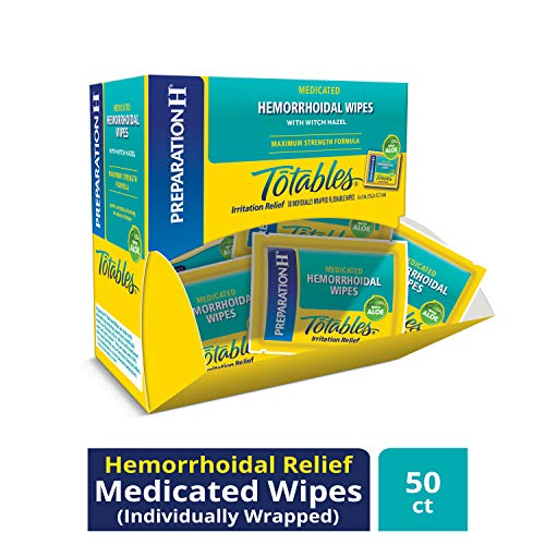 Preparation H (50Count) Flushable Medicated Hemorrhoid Wipes, Maximum Strength Relief with Witch Hazel & Aloe, Irritation Relief Wipes to Go