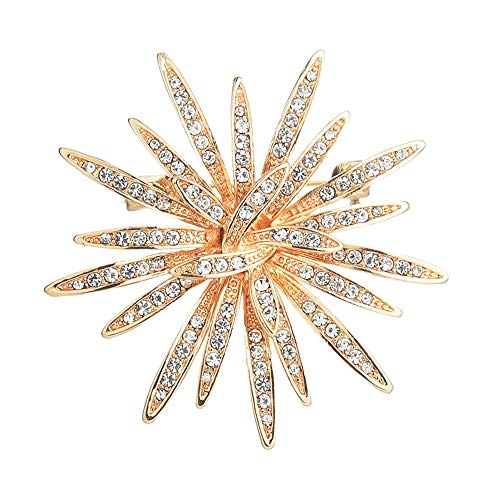 (GYAYU Sun Flower Brooch Jewelry for Women,Gold Tone Austria Rhinestone Crystal Brooch Pins Jewelry)
