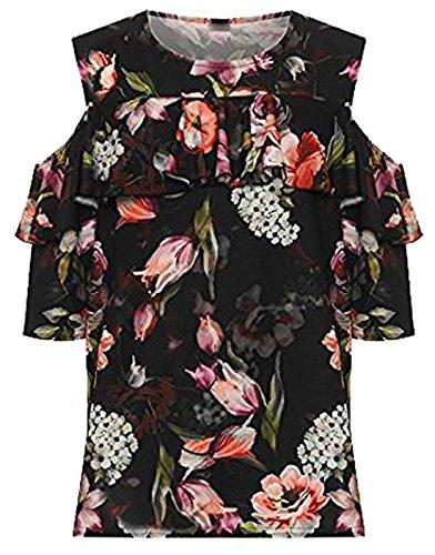 21fashion À Taille Femme Noir shirt T Water Courtes Color Unique Fleurs Manches Floral 4TUWZgq4w