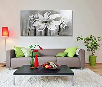 Seekland Art Hand Painted Flower Oil Painting on Canvas Floral Wall Art Abstract Black and White Lotus Modern Contemporary Decor for Bedroom Living Room Dining Room Framed Ready to Hang