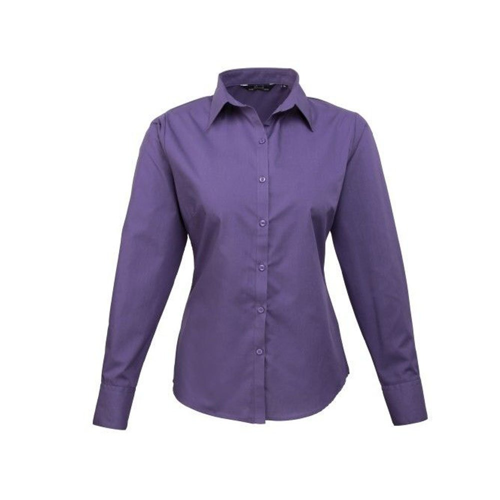 Ladies Plain Work Shirt Premier Womens poplin long sleeve blouse