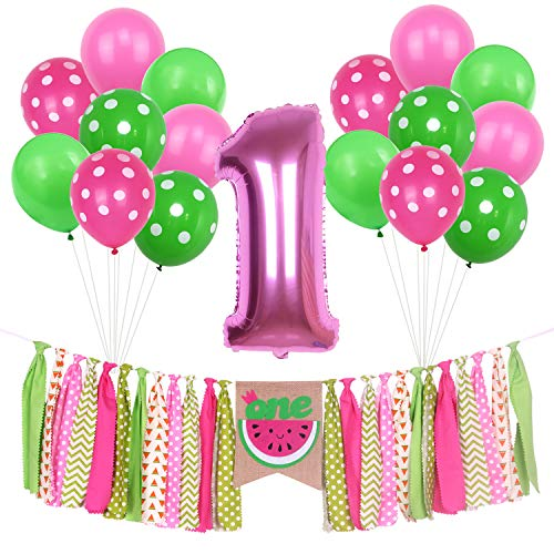 ONINIT Watermelon Banner Kits for Baby Girls 1st Birthday Party Decorations, Summer Picnic First Birthday Photo Shoot Banners, High Chair Banner Foil Balloon and Latex Balloons Set