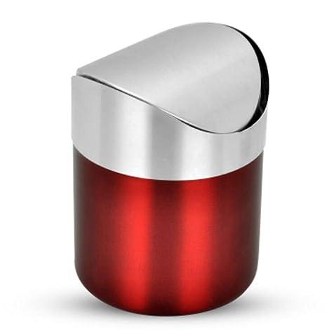 Lata de basura de acero inoxidable de la tapa del oscilación mini ...