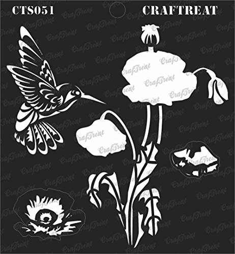 CrafTreat Layered Stencil - Poppy | Reusable Painting Template for Journal, Notebook, Home Decor, Crafting, DIY Albums, Scrapbook and Printing on Paper, Floor, Wall, Tile, Fabric, Wood 6