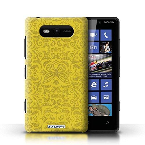 Etui / Coque pour Nokia Lumia 820 / Jaune conception / Collection de Motif médaillon