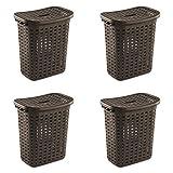 Sterilite 12766P04 Weave Laundry Hamper, Espresso, 4-Pack
