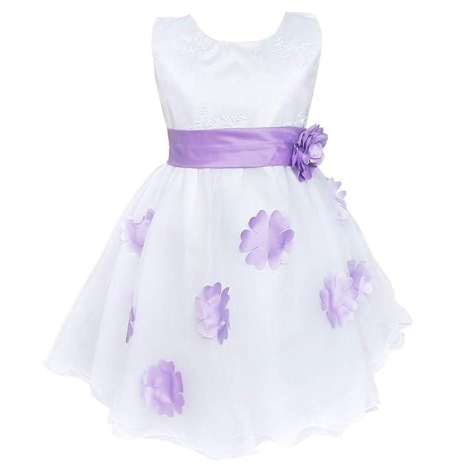 iiniim Vestido Blanco Flores de Fiesta para Niñas Bebés ...