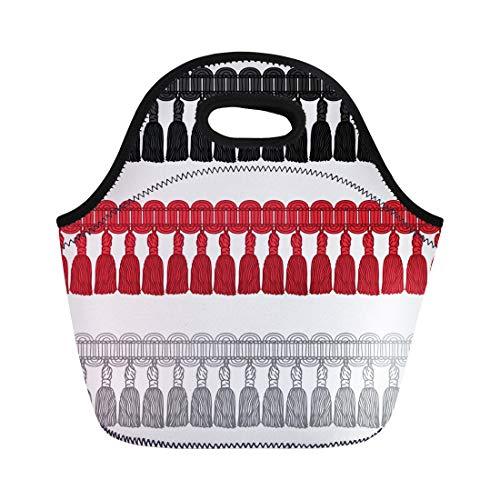 (Semtomn Neoprene Lunch Tote Bag Brush Novelty Gimp Tassel Trim Fringe Border Braid Bullion Reusable Cooler Bags Insulated Thermal Picnic Handbag for Travel,School,Outdoors,Work)