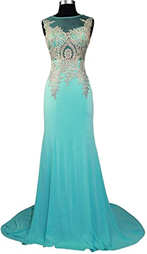 Meier Women's Embroidery Rhinestone Long Formal Evening Prom Dresses