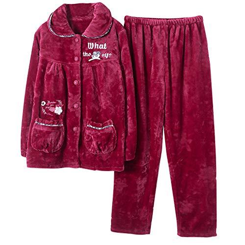 Bordado Pijamas nbsp; A Otoño Mujer Para Coral E Domicilio Grueso Mmllse nbsp;servicio Photo Invierno Carta Cálido Terciopelo Color Conjunto qdvZxqn