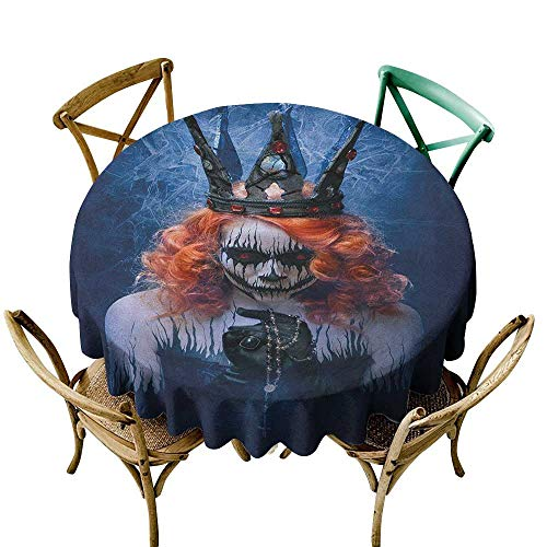 banquet tablecloth 60 inch Queen,Queen of Death Scary Body Art Halloween Evil Face Bizarre Make Up Zombie, Navy Blue Orange Black Dust-Proof Table Cover for Kitchen Dinning Tabletop Decoration -