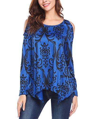 SE MIU Women's Casual Long Sleeve Cold Shoulder Loose Blouse - Miu Miu Sale Clothing