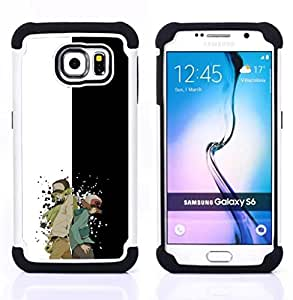 """Samsung Galaxy S6 / SM-G920 - 3 en 1 impreso colorido de Altas Prestaciones PC Funda chaqueta Negro cubierta gel silicona suave (V superhéroe Jumper"""")"""