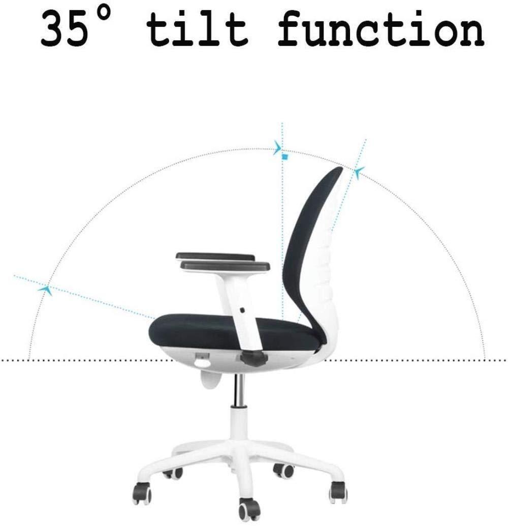 THBEIBEI Kontorsstol svängbar stol spelstol datorstol uppgift skrivbordsstol med justerbara armar, nätbaksida svängbar mellanrygg affärsstol (färg: blå) Röd