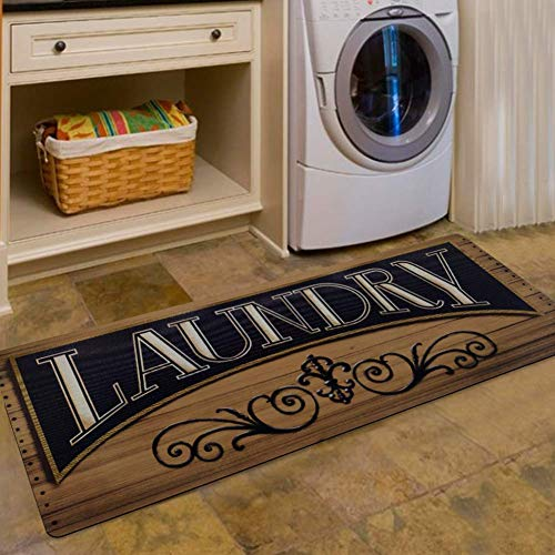 - USTIDE Wood Print Floor Rug for Laundry Room Washhouse Mat Waterproof Kitchen Rugs Non Skid Rubber Area Rug 2x4