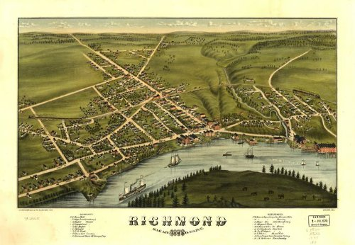 Historic Panoramic Map Reprint: Richmond, Sagadahoc Co., Maine 1878. A. Ruger, del. 36 x 24