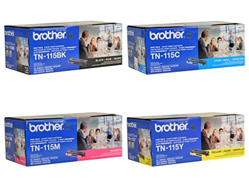 Brother TN115BK, TN115C, TN115M, TN115Y High Yield Black, Cyan, Magenta and Yellow Toner Cartridge (Tn115 Yellow Toner)