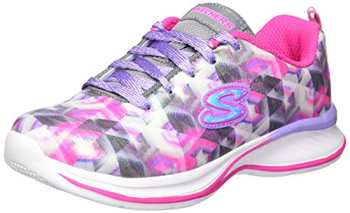 Skechers Kids Girls' Jumpin' Jams-Color Vision Sneaker,silver/pink/lavender,11 Medium US Little Kid