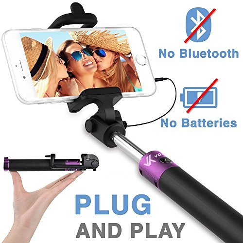 (Voxkin Compatible with iPhone, Android & All Smartphones Ultra Portable Wired Selfie Stick - No Bluetooth Pairing, No Battery Charging, Premium & Sturdy - Best Pocket Sized Cable Monopod)