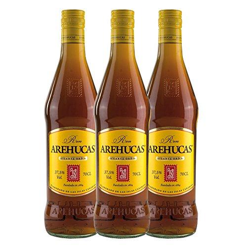 Ron AREHUCAS - goldener Rum -Carta Oro 37,5% vol. , 3er Sparpack 3 x 700 ml