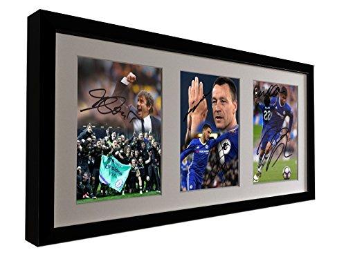 Signed Soccer Black CELEBRATION EDITION 2017 Premier League Win. Conte-John Terry-Eden Hazard-Willian-Deigo Costa Chelsea Autographed Photo Photographed Picture Frame Football Gift