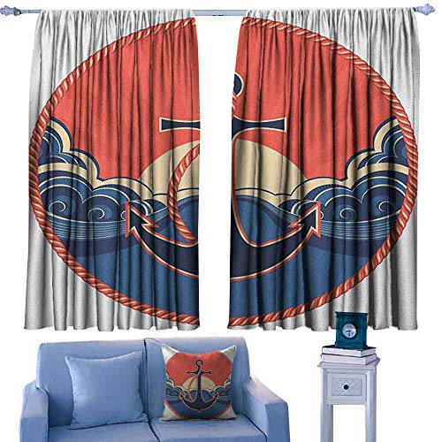ParadiseDecor Anchor Iving Room Curtains Navy Label with Robe and Sea Waves at Sunset Anchor Retro Aquatic Life Icons,Pattern Print Decor Boys Curtains,W55 x L45 Inch