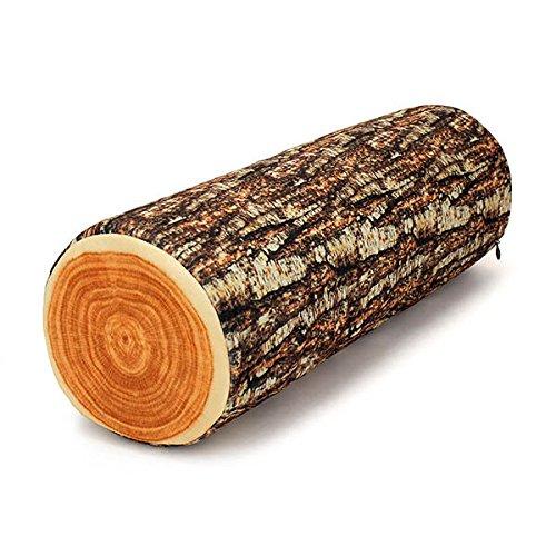wiwanshop Honana 3D Realistic Willow Stump Log Wood Shape Throw Pillow Office Sofa Car Com