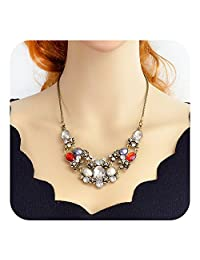 Feelontop® Indian Jewelry Vintage Colorful Rhinestone Statement Collar Necklace with Jewelry Pouch