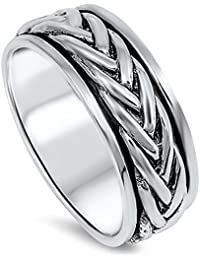 Sterling Silver Classic Braided Spinner Ring