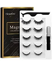 Magnetic Eyelashes Kit Magnetic Eyeliner With Magnetic Eyelashes Magnetic Lashliner For Use with Magnetic False Lashes Natural Look-No Glue Needed (5-Pairs)