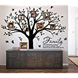 "LUCKKYY Grant Family Tree Wall Decal with Family Like Branches on a Tree Quote Wall Decal Tree wall Sticker (83"" wide x 83"" high ) (Black)"