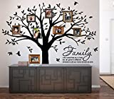 """LUCKKYY Grant Family Tree Wall Decal with Family Like Branches on a Tree Quote Wall Decal Tree wall Sticker (83"""" wide x 83"""" high ) (Black)"""