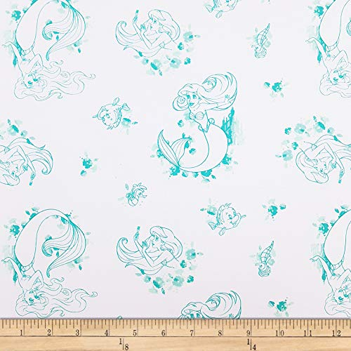 Eugene Textiles Disney Forever Princess Ariel Toile in Fabric, Turquoise, Fabric By The Yard -