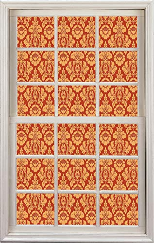 3D Window Decal Wall Sticker,Damask Pattern Baroque Rococo Old Fashioned,Home Decor Stickers (Uconn Pattern)