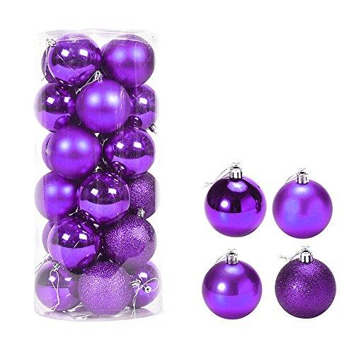 Better Selection Xmas Balls, Plastic Christmas Baubles Tree Ornaments 24 Pack (Purple) -