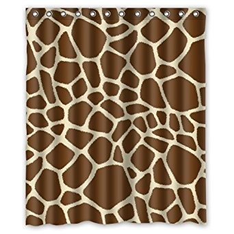 Fashionable Bathroom Collection-Custom Waterproof Giraffe Print Shower Curtain (60