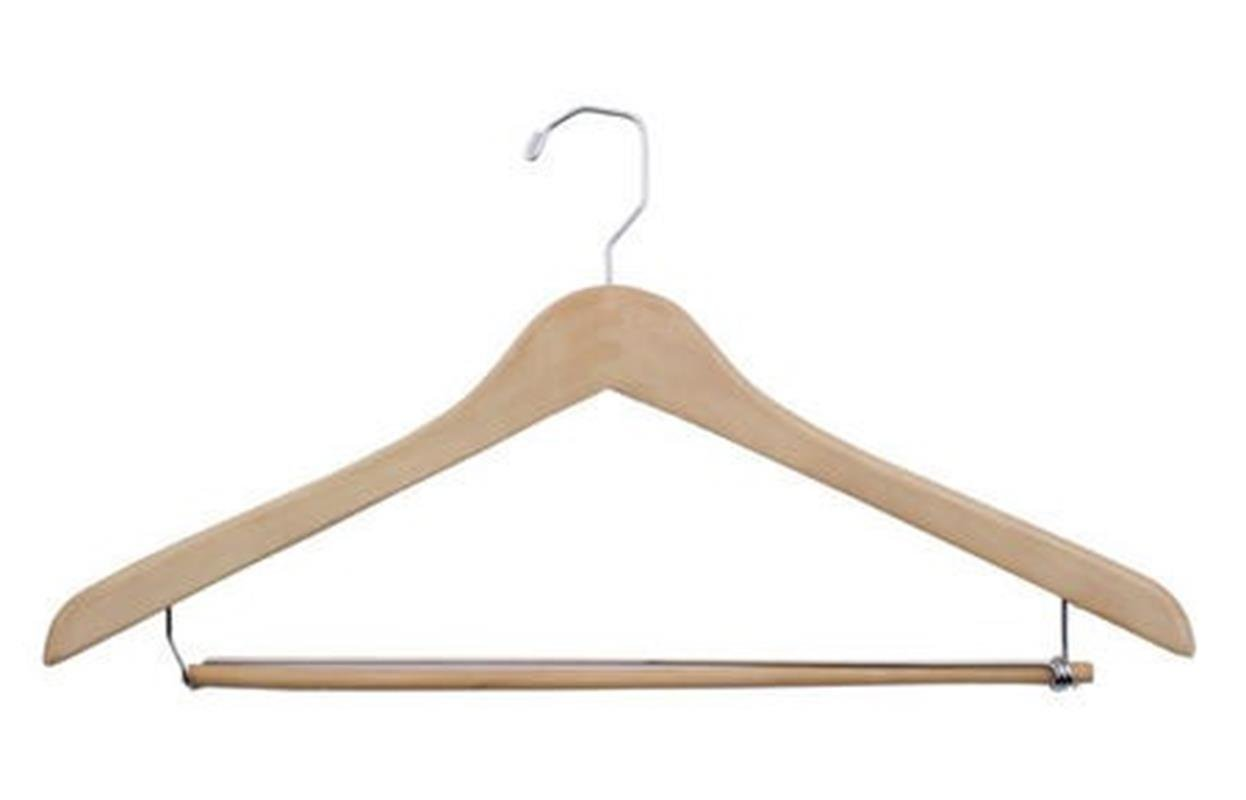 NAHANCO 50-19CH 19'' Concave Wood Suit Hanger Natural Waxed Finish (Pack of 100)