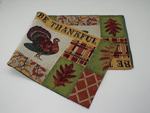Bristola Home Designs Be Thankful Fall Table Runner - Tapestry - 13 x 70 inches (Turkey Runner Table)