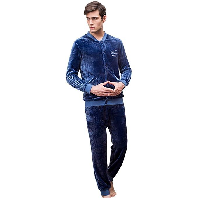 WanYang Hombres Pijamas de Pijama 2 Piezas Lana de Tacto Suave Conjunto de Pijamas de Dormir
