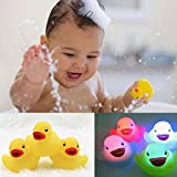 Sunoon Bath Toy,LED Rubber duck Light-Up bath ducks Flashing Colourful (4 Pack),Floating Bath Toys; Baby Shower Bathtime Bathtub Toys For Bathroom,Color Changing water toys For Babies Kid Boys Girl