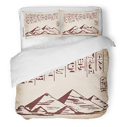 Semtomn Decor Duvet Cover Set Full/Queen Size Pattern of Egyptian National Drawing Gods Hieroglyphs Pyramid Ancient 3 Piece Brushed Microfiber Fabric Print Bedding Set Cover