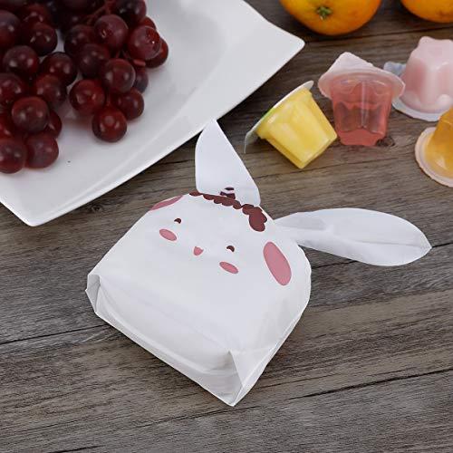 Mercy World 60PCS Sacchetti Compleanno, Sacchetto per Caramella Confetti Borsa di Regalo Sacchetto Coniglietto di Forma del Coniglio Sacchetti di Biscotto