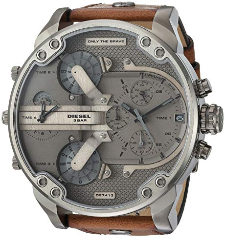 (Diesel Men's 'Mr Daddy 2.0' Quartz Stainless Steel and Leather Watch, Color:Brown (Model:)