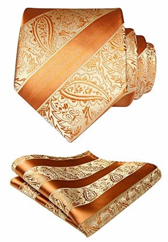 HISDERN Solid Paisley Tie Handkerchief Woven Men's Wedding Necktie & Pocket Square Set Orange (Best Suit Shirt And Tie Combinations)