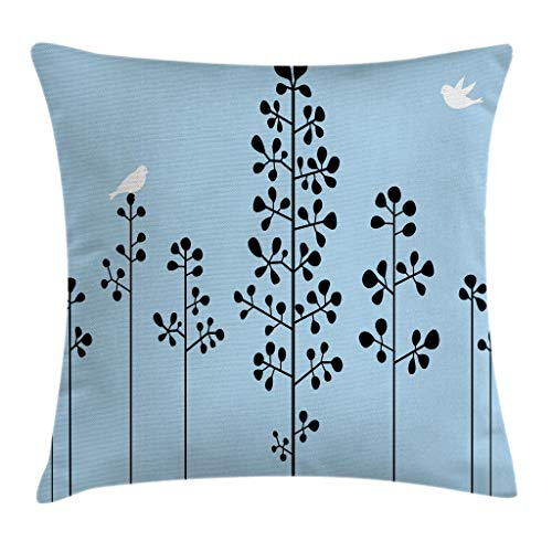 Ambesonne Abstract Throw Pillow Cushion Cover by, Silhouette of Birds Sitting on Tree Branch Sky Spring Inspired Illustration, Decorative Square Accent Pillow Case, 16 X 16 Inches, Light Blue Black