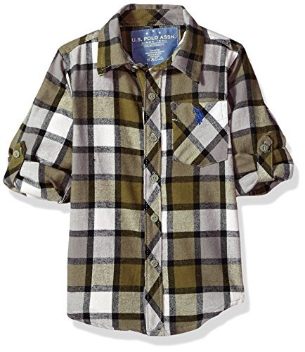 U.S. Polo Assn. Big Boys' Long Sleeve Plaid Flannel Shirt, Olive Branch Hd, - Shirt Plaid Flannel Big