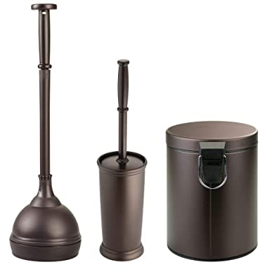 mDesign Modern Plastic Bathroom Storage and Cleaning Accessory Set - Includes Toilet Plunger, Bowl Brush, Step Wastebasket Trash Can, Garbage Bin - 3 Pieces - Bronze