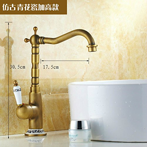 bluee-tiled With High) Hlluya Professional Sink Mixer Tap Kitchen Faucet Antique basin cold and hot surface on the tub faucet antique brass faucet parts I, of all
